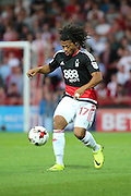Nottingham Forest striker, on loan from Benfica, Hildeberto Pereira (17) dribbling during the EFL Sky Bet Championship match between Brentford and Nottingham Forest at Griffin Park, London, England on 16 August 2016. Photo by Matthew Redman.