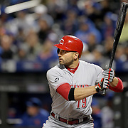 NEW YORK, NEW YORK - APRIL 26:  Joey Votto #19 of the Cincinnati Reds batting during the New York Mets Vs Cincinnati Reds MLB regular season game at Citi Field on April 26, 2016 in New York City. (Photo by Tim Clayton/Corbis via Getty Images)