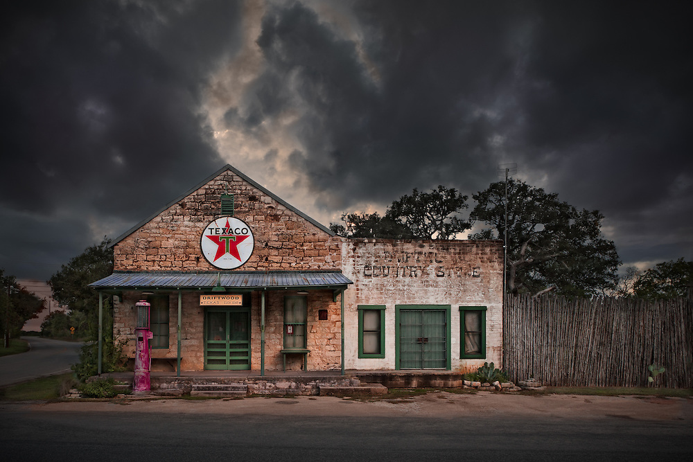 Abandoned gas station with country store at Driftwood Springs Texas