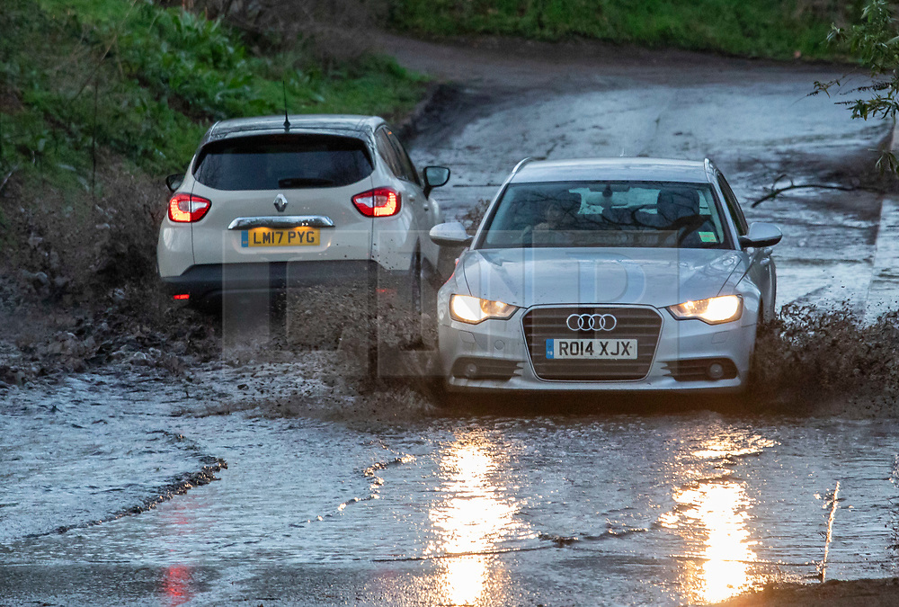 © Licensed to London News Pictures. 15/01/2020. London, UK. Flooding still evident near Dukes Meadows Chiswick, London after storm Brendan lashed the UK yesterday. The bad weather is set to continue for commuters as more rain and high winds are expect for Thursday 16/01/2020. Photo credit: Alex Lentati/LNP