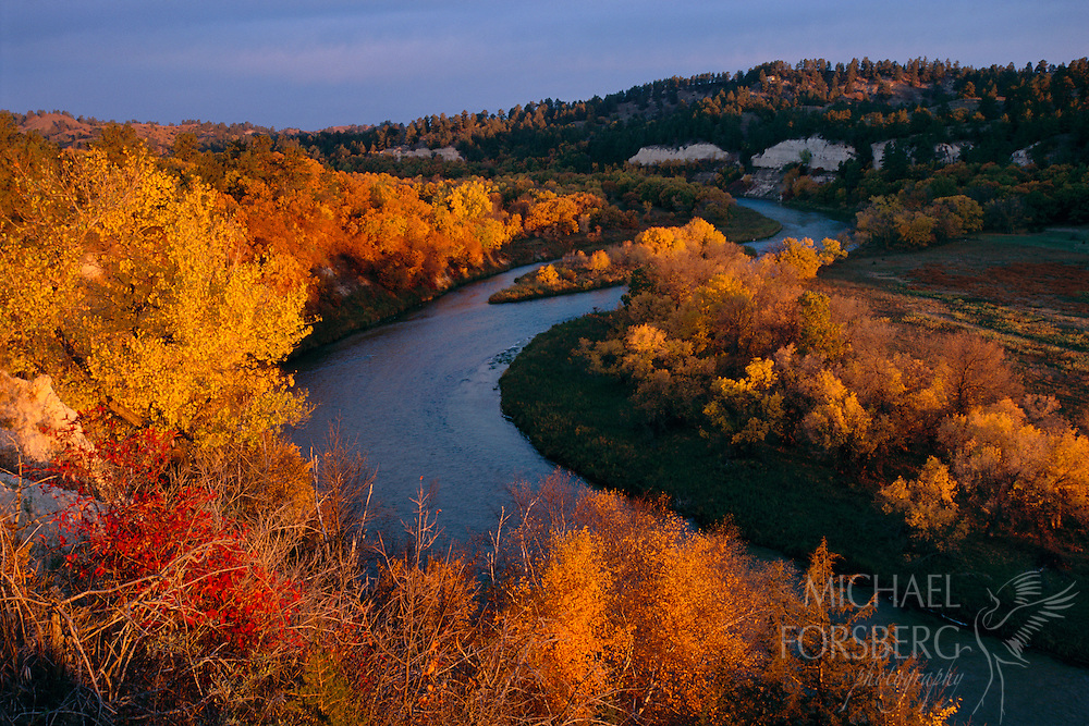 Fall color in the Niobrara River, Nebraska Sandhills.