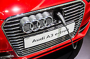 Audi's electronic car, A3 e-tron is displayed during a press preview of the Seoul Motor Show in Goyang, north of Seoul, April 2, 2015. Photo by Lee Jae-Won (SOUTH KOREA) www.leejaewonpix.com/