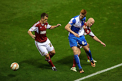 Bristol Rovers Forward Matt Harrold (ENG) is challenged by Bristol City Defender James O'Connor (ENG) during the second half of the match - Photo mandatory by-line: Rogan Thomson/JMP - Tel: 07966 386802 - 04/09/2013 - SPORT - FOOTBALL - Ashton Gate, Bristol - Bristol City v Bristol Rovers - Johnstone's Paint Trophy - First Round - Bristol Derby