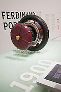 Up close and personal view of an early 1900s design by Ferdinand Porsche of a electric motor built into the wheel.