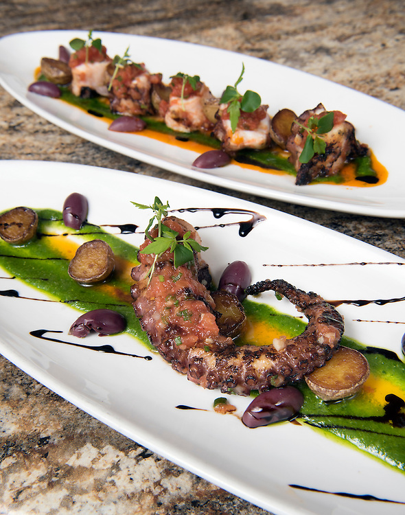 May 24, 2016 Middletown<br /> Bread &amp; Water restaurant. The Pulpo served two ways: grilled octopus, imported olives, tomato confit, crispy new potatoes, arugula pesto.