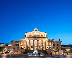Konzerthaus at night in Gendarmenmarkt square  in Mitte Berlin Germany