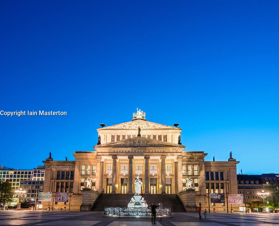 Konzerthaus at night in Gendarmenmarkt square  in Mitte Berlin Germany