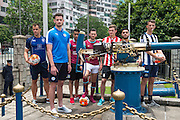 HKFC Citi Soccer Sevens Press conference at the historic Noon Day gun on Victoria Harbour Hong Kong. The one shot salute is a long standing Hong Kong tradition. Players L to R- HKFC Gary Gheczy,Leicester City Elliott Moore, Aston Villa Khalid Abdo, West Ham Lewis Page, Stoke City Lewis Banks, Wellington Phoenix Justin Gulley and Newcastle United Dan Barlaser.