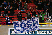 Peterborough fans celebrate the win over Swindon 1-0 during the EFL Sky Bet League 1 match between Swindon Town and Peterborough United at the County Ground, Swindon, England on 21 January 2017. Photo by Gary Learmonth.
