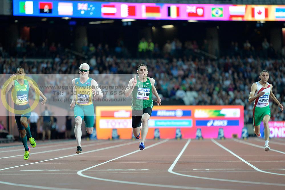 16/07/2017 : Jason Smyth (IRL), Chad Perris (AUS), Kesley Teodoro (BRA), Radoslav Zlatanov (BUL), Men's 100m, T13, at the 2017 World Para Athletics Championships, Olympic Stadium, London, United Kingdom
