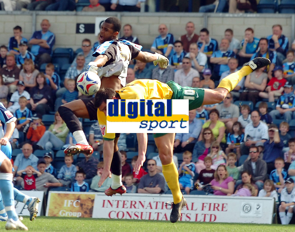 Photo: Kevin Poolman.<br />Wycombe Wanderers v Hartlepool United. Coca Cola League 2. 14/04/2007. Richard Barker of Hartlepool challenges Wycombe keeper Ricardo Batista.