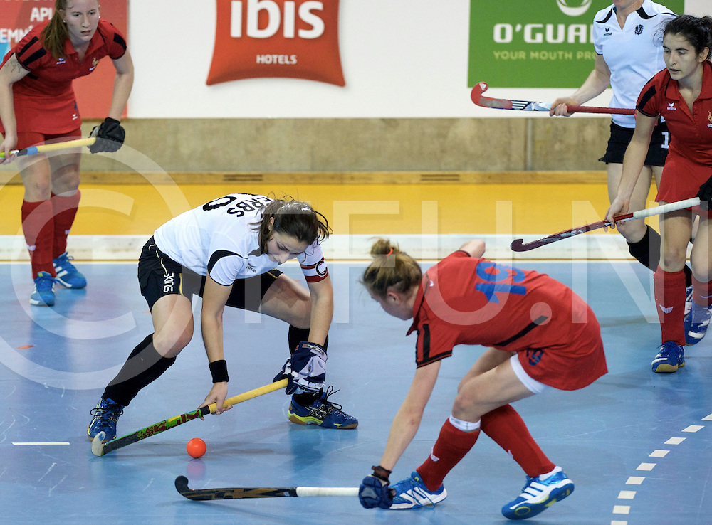 Prague - EuroHockey Indoor Championship (W) 2014<br /> 05 AUT v FRA (Pool B)<br /> foto: Corine ZERBS defendat by Alicia MINET.<br /> FFU PRESS AGENCY COPYRIGHT FRANK UIJLENBROEK