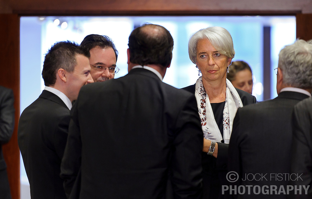Christine Lagarde, France's finance minister, speaks with colleagues during the Eurogroup meeting in Brussels on Monday May 17, 2010. (Photo © Jock Fistick)