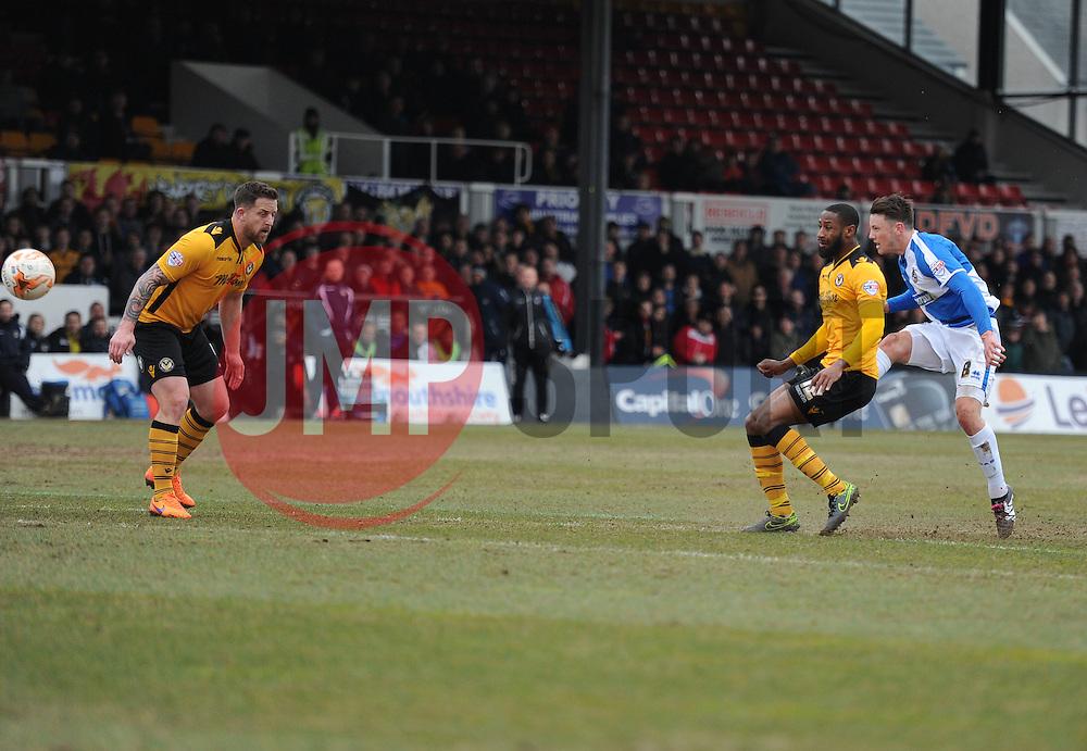Ollie Clarke of Bristol Rovers scores to make it 1-1 - Mandatory byline: Alex James/JMP - 19/03/2016 - FOOTBALL - Rodney Parade - Newport, England - Newport County v Bristol Rovers - Sky Bet League Two