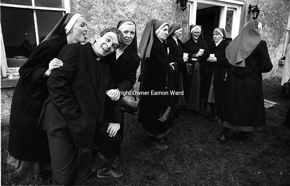Nun So Bold................Extras on the set of Fr Ted ,the Channel 4 comedy staring Dermot Morgan which was filmed near Kilnaboy ,Co Clare...Photograph by Eamon Ward Freelance /The Clare People....(Highest Quality Digital File will be available if Chosen for Book)....
