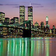 Brooklyn Bridge, Twin Towers,  and Lower Manhattan Skyline, designed by John Augustus Roebling,Twin Towers of the World Trade Center, designed by Minoru Yamasaki, Manhattan, New York City, New York, USA
