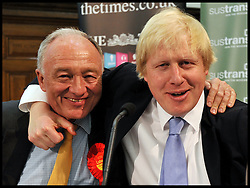 London Mayor Boris Johnson and Ken Livingstone at the Times Cycling Hustings in Central London, Monday April 30, 2012. Photo By Andrew Parsons / i-Images.