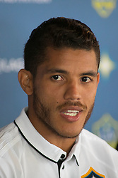 July 28, 2017 - Carson, California, U.S - Jonathan dos Santos is presented to the media during a press conference after joining the L.A. Galaxy at StubHub Center in Carson, California on Friday, July 28, 2017. (Credit Image: © Prensa Internacional via ZUMA Wire)