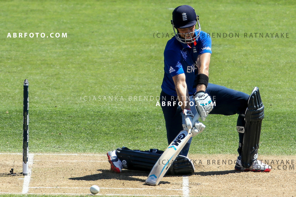Joe Root batting during the 2015 ICC Cricket World Cup Pool A group match between England Vs Sri Lanka at the Wellington Regional Stadium, Wellington, New Zealand.
