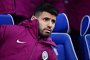 Sergio Aguero (10) of Manchester City on the bench during the The FA Cup 4th round match between Cardiff City and Manchester City at the Cardiff City Stadium, Cardiff, Wales on 28 January 2018. Photo by Graham Hunt.