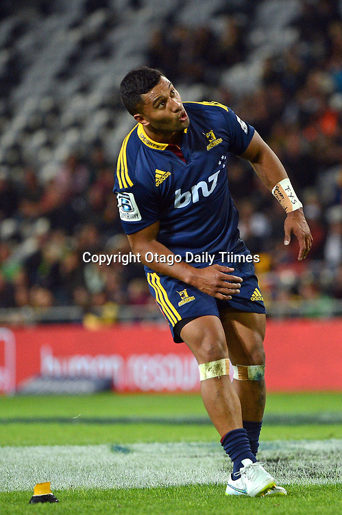 Highlander Lima Sopoaga kicks during the Super 15 Rugby match between Highlanders and the Stormers at the Forsyth Barr Stadium, Dunedin, New Zealand on Saturday night.PHOTO PETER MCINTOSH (OTAGO DAILY TIMES).