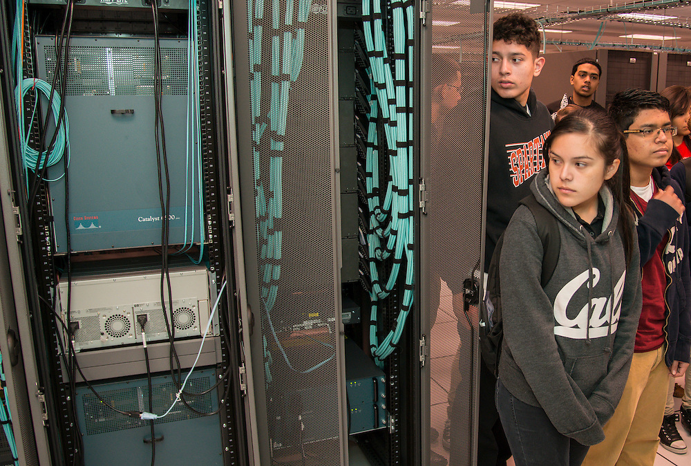 Scarborough High School students tour the Houston ISD data center, March 12, 2014.
