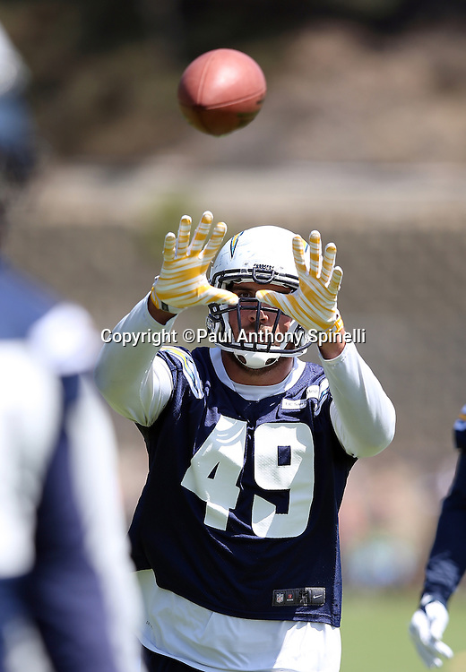 San Diego Chargers linebacker Ben Gardner (49) catches a pass during the Chargers 2016 NFL minicamp football practice held on Tuesday, June 15, 2016 in San Diego. (©Paul Anthony Spinelli)