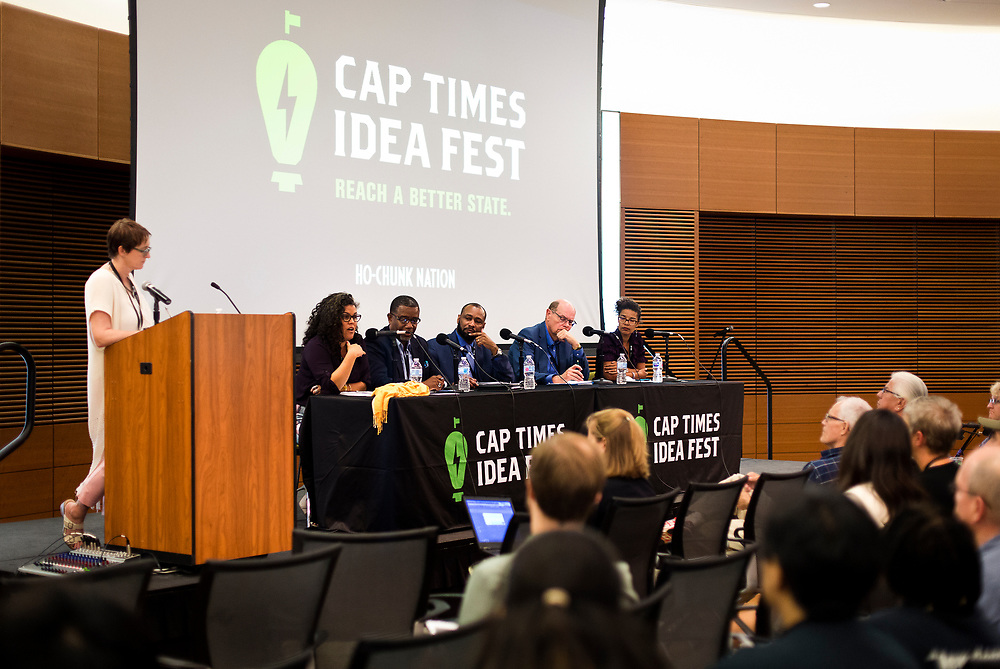 """Panelists on """"Moving past the fear — How to talk about race in all of your spaces"""" speak during the Cap Times 2017 Idea Fest, Saturday, September 16, 2017"""