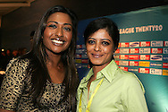 Kass Naidoo and Sujatha during the CLT20 live broadcast party held at the Supersport Studios in Johannesburg on the 8 September held as part of the build up to the Champions League T20 tournament being held in South Africa between the 10th and 26th September 2010..Photo by: Ron Gaunt/SPORTZPICS/CLT20