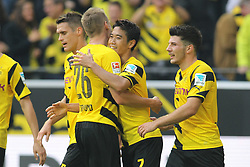 13.09.2014, Signal Iduna Park, Dortmund, GER, 1. FBL, Borussia Dortmund vs SC Freiburg, 3. Runde, im Bild vl: Kapitaen Sebastian Kehl (Borussia Dortmund #5), Lukasz Piszczek (Borussia Dortmund #26), Torschuetze Shinji Kagawa (Borussia Dortmund #7) und Milos Jojic (Borussia Dortmund #14) beim Torjubel nach dem Treffer zum 2:0 // during the German Bundesliga 3rd round match between Borussia Dortmund and SC Freiburg at the Signal Iduna Park in Dortmund, Germany on 2014/09/13. EXPA Pictures © 2014, PhotoCredit: EXPA/ Eibner-Pressefoto/ Schüler<br /> <br /> *****ATTENTION - OUT of GER*****