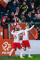 14.11.2016, Stadion Miejski, Wroclaw, POL, Testspiel, Polen vs Slowenien, im Bild Jakub Blaszczykowski poland #16 Lukasz Teodorczyk poland #14 radosc po gol bramka joy after goal celebrates after scoring goal // during the international friendly football match between Poland vs Slovenia at the Stadion Miejski in Wroclaw, Poland on 2016/11/14. EXPA Pictures &copy; 2016, PhotoCredit: EXPA/ Newspix/ Sebastian Borowski<br /> <br /> *****ATTENTION - for AUT, SLO, CRO, SRB, BIH, MAZ, TUR, SUI, SWE, ITA only*****