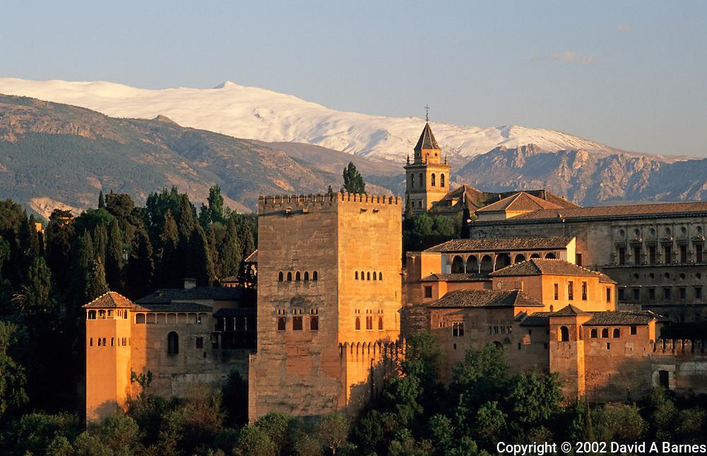 Alhambra; Granada; Andalusia, Spain.Sierra Nevada