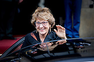 13-1-2015 AMSTERDAM - Princess Margriet and prince Pieter van Vollenhoven arrive at the Palace at the Dam for the new year reception. COPYRIGHT ROBIN UTRECHT