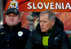 Head coach of Slovenia Matjaz Kek and Milan Miklavic during the 2010 FIFA World Cup South Africa Group C match between Slovenia and USA at Ellis Park Stadium on June 18, 2010 in Johannesberg, South Africa. (Photo by Vid Ponikvar / Sportida)