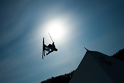 February 18, 2018 - Pyeongchang, South Korea - JOONA KANGAS of Finland goes airborne during Mens Ski Slopestyle qualifications Sunday, February 18, 2018 at Phoenix Snow Park at the Pyeongchang Winter Olympic Games. Kangas did not qualify for the finals. Photo by Mark Reis, ZUMA Press/The Gazette (Credit Image: © Mark Reis via ZUMA Wire)