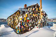 The iconic fishing shack looks nice with a fresh layer of snow and winter blue sky with the wall of lobster bouys on her siding.