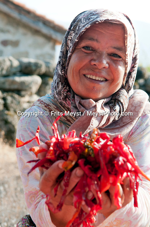 Herakleia Western Turkey, July 2011. A village woman is drying hot chillipeppers. Bafa Gölü was once a gulf in the Aegean, but is now a brackish landlocked lake. At the end of a twisting road through a boulder landscape are the ruins of ancient Herakleia and Latmos around the village of Kap?k?r?,which enjoys a dramatic lakeside setting. The Turkish Aegean coastline is littered with historical sites dating back to the Greek classical era. Photo by Frits Meyst/Adventure4ever.com.