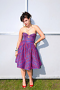 Lily Allen in red and blue checkered dress, Metro Weekender, Get Loaded In The Park, London 2006
