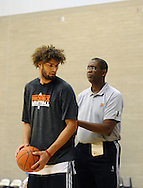 Dec. 10 2011; Phoenix, AZ, USA; Phoenix Suns center Robin Lopez (15) practices during training camp at Grand Canyon University. Mandatory Credit: Jennifer Stewart-US PRESSWIRE.