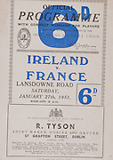 Irish Rugby Football Union, Ireland v France, Five Nations, Landsdowne Road, Dublin, Ireland, Saturday 27th January, 1951,.27.1.1951, 27.1.1951,..Referee- Mr T Pearce, Rugby Union, ..Score- Ireland 9 - 8 France,..Irish Team, ..G Norton, Wearing number 15 Irish jersey, Full back, Bective Rangers Rugby Football Club, Dublin, Ireland,  ..C S Griffin, Wearing number 14 Irish jersey, Right Wing, London Irish Rugby Football Club, Surrey, England, ..N J Henderson, Wearing number 13 Irish jersey, Right centre, Queens University Rugby Football Club, Belfast, Northern Ireland,..R R Chambers, Wearing number 12 Irish jersey, Left Centre, Instonians Rugby Football Club, Belfast, Northern Ireland, ..M F Lane,  Wearing number 11 Irish jersey, Left wing, University college Cork Football Club, Cork, Ireland,  .. J W Kyle, Wearing number 10 Irish jersey, Stand Off, Queens University Rugby Football Club, Belfast, Northern Ireland,..J A O'Meara, Wearing number 9 Irish jersey, Scrum, University college Cork Football Club, Cork, Ireland,  ..T Clifford, Wearing number 1 Irish Jersey, Forward, Young Munster Rugby Football Club, Limerick, Ireland, ..K Mullen, Wearing number 2 Irish Jersey, Captain of the Irish team, Forward, Old Belvedere Rugby Football Club, Dublin, Ireland, ..J H Smith, Wearing number 3 Irish jersey, Forward, Queens University Rugby Football Club, Belfast, Northern Ireland,..J E Nelson, Wearing number 4 Irish jersey, Forward, Malone Rugby Football Club, Belfast, Northern Ireland, ..D McKibbin, Wearing number 5 Irish jersey, Forward, Instonians Rugby Football Club, Belfast, Northern Ireland, ..J W McKay, Wearing number 6 Irish jersey, Forward, Queens University Rugby Football Club, Belfast, Northern Ireland,..D J O'Brien, Wearing number 7 Irish jersey, Forward, London Irish Rugby Football Club, Surrey, England, and, Old Belvedere Rugby Football Club, Dublin, Ireland, ..J S McCarthy, Wearing number 8 Irish jersey, Forward, Dolphin Rugby Football Club, Cork, Ireland, ..Frenc