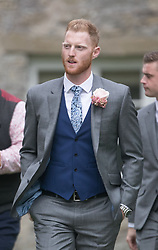 England all-rounder Ben Stokes arrives for his marriage to fiancee Clare Ratcliffe, at St Mary the Virgin, East Brent, Somerset.
