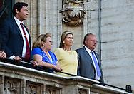 Princesse Léa de Belgique et le Roi Fouad II d'Egypte présents lors de l'édition 2014 du spectacle historique de l'Ommegang, a la Grand Place de Bruxelles.<br />  Belgique, Bruxelles, 03 juillet, 2014.