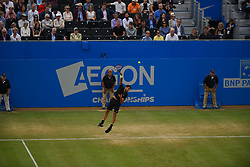 June 24, 2017 - London, United Kingdom - Grigor Dimitrov of Bulgaria serves against Feliciano Lopez of Spain in the semi final of AEGON Championships at Queen's Club, London, on June 24, 2017. (Credit Image: © Alberto Pezzali/NurPhoto via ZUMA Press)