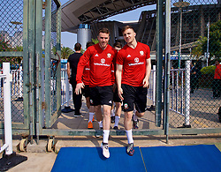 NANNING, CHINA - Wednesday, March 21, 2018: Wales' Marley Watkins and Lee Evans during a training session at the Guangxi Sports Centre ahead of the opening 2018 Gree China Cup International Football Championship match against China. (Pic by David Rawcliffe/Propaganda)