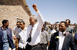 NELSON ROLIHLAHLA MANDELA (July 18, 1918 - December 5, 2013), 95, world renown civil rights activist and world leader. Mandela emerged from prison to become the first black President of South Africa in 1994. As a symbol of peacemaking, he won the 1993 Nobel Peace Prize. Joined his countries anti-apartheid movement in his 20s and then the ANC (African National Congress) in 1942. For next 20 years, he directed a campaign of peaceful, non-violent defiance against the South African government and its racist policies and for his efforts was incarcerated for 27 years. Remained strong and faithful to his cause, thru out his life, of a world of peace. Transforming the world, to make it a better place. PICTURED: 1994 - NELSON MANDELA'S election campaign, ahead of the first non racial elections in South Africa.   (Credit Image: © Greg Marinovich/ZUMA Wire/ZUMAPRESS.com)