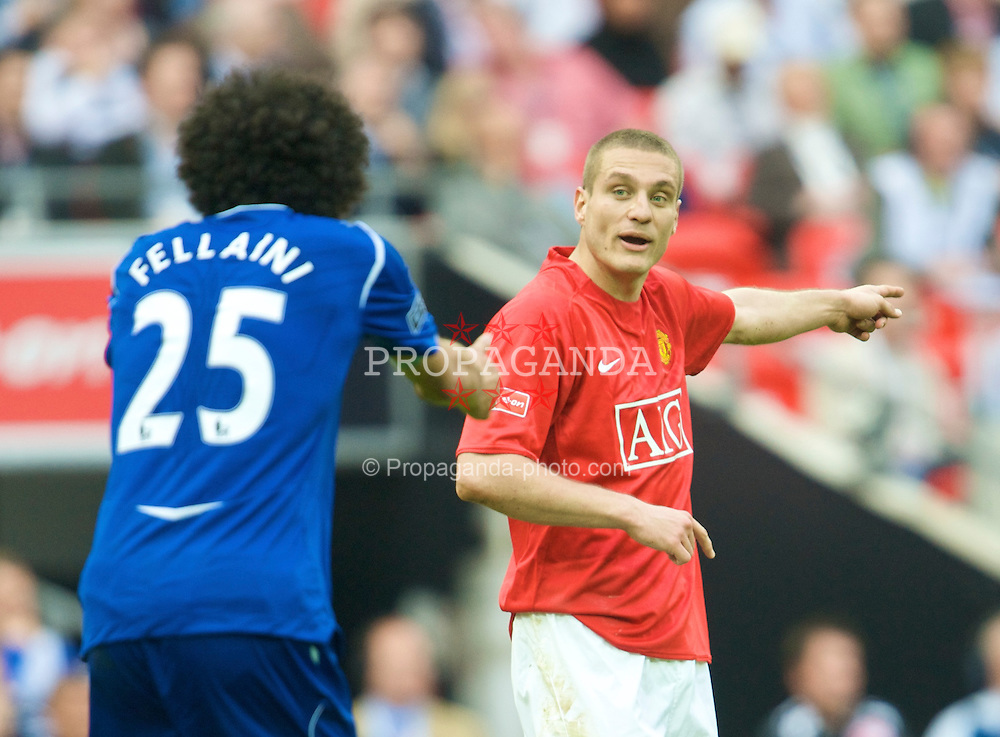 LONDON, ENGLAND - Sunday, April 19, 2009: Manchester United's Nemanja Vidic and Everton's Marouane Fellaini during the FA Cup Semi-Final match at Wembley. (Photo by David Rawcliffe/Propaganda)
