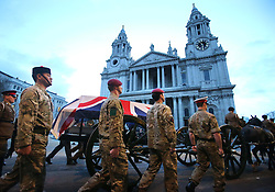 The early morning dress rehearsal for Baroness Thatcher's funeral procession arriving at St.Paul's Cathedral in London,  Monday 15th April 2013 Photo by: Stephen Lock / i-Images