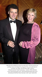 MR STEVEN MOFFAT and his wife SUE VIRTUE producer of the Vicar of Dibly TV programme, at a dinner in London on 29th November 2001.	OUS 4