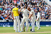 Joe Root of England and Jonny Bairstow of England take a drinks break during Day One of the Specsavers International Test Match 2018 match between England and India at Edgbaston, Birmingham, United Kingdom on 1 August 2018. Picture by Graham Hunt.