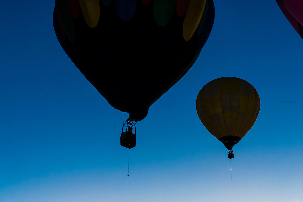 Hot air balloons lifting off from Balloon Fiesta Park in predawn light, Albuquerque International Balloon Fiesta, Albuquerque, New Mexico USA.